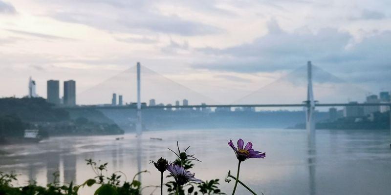 江边褪去雾蒙蒙的水汽,江清景明。(摄影:李馨倩)