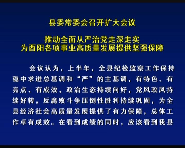 县委常委会召开扩大会议 推动全面从严治党走深走实 为酉阳各项事业高质量发展提供坚强保障