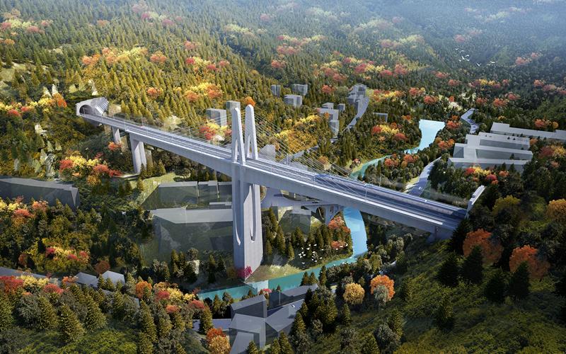 渝湘高铁武隆段长途河双线大桥主墩承台浇筑完成